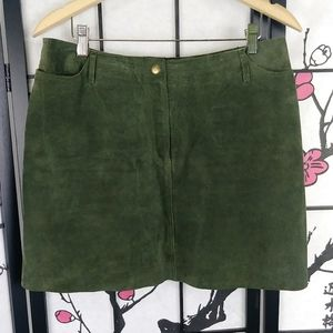 Hugo Buscati Suede Olive Miniskirt Leather Green